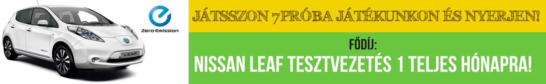 Hétpróba főnyeremény: Egy hónapos Nissan Leaf tesztvezetés